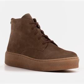 Marco Shoes Niskie botki sznurowane z miękkiej skóry brązowe zielone 1