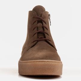 Marco Shoes Niskie botki sznurowane z miękkiej skóry brązowe zielone 2