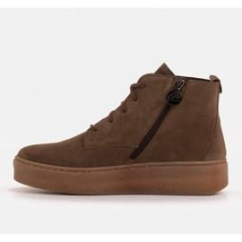Marco Shoes Niskie botki sznurowane z miękkiej skóry brązowe zielone 3