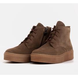 Marco Shoes Niskie botki sznurowane z miękkiej skóry brązowe zielone 4