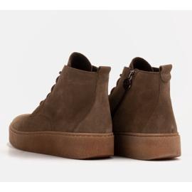 Marco Shoes Niskie botki sznurowane z miękkiej skóry brązowe zielone 5