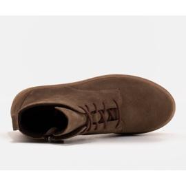 Marco Shoes Niskie botki sznurowane z miękkiej skóry brązowe zielone 6
