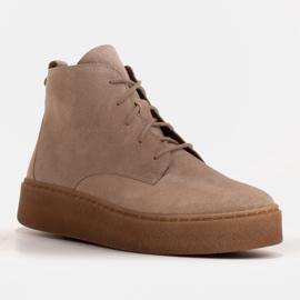 Marco Shoes Niskie botki sznurowane z miękkiej skóry beżowy 1