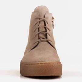 Marco Shoes Niskie botki sznurowane z miękkiej skóry beżowy 2
