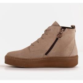 Marco Shoes Niskie botki sznurowane z miękkiej skóry beżowy 3
