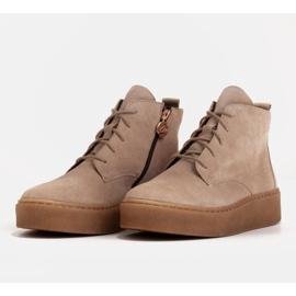 Marco Shoes Niskie botki sznurowane z miękkiej skóry beżowy 4