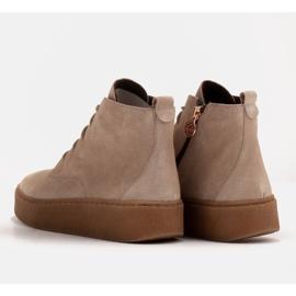 Marco Shoes Niskie botki sznurowane z miękkiej skóry beżowy 5