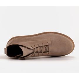 Marco Shoes Niskie botki sznurowane z miękkiej skóry beżowy 6