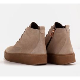 Marco Shoes Niskie botki sznurowane z miękkiej skóry beżowy 7