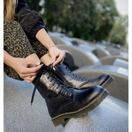 Marco Shoes Wysokie trzewiki, glany wiązane na półprzeźroczystej podeszwie czarne 7
