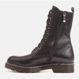 Marco Shoes Wysokie trzewiki, glany wiązane na półprzeźroczystej podeszwie czarne 1