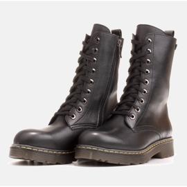 Marco Shoes Wysokie trzewiki, glany wiązane na półprzeźroczystej podeszwie czarne 3