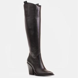 Marco Shoes Wysokie kozaki damskie kowbojki z naturalnej skóry czarne 1