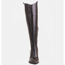 Marco Shoes Wysokie kozaki damskie kowbojki z naturalnej skóry czarne 2