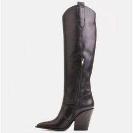 Marco Shoes Wysokie kozaki damskie kowbojki z naturalnej skóry czarne 3