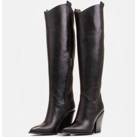 Marco Shoes Wysokie kozaki damskie kowbojki z naturalnej skóry czarne 4