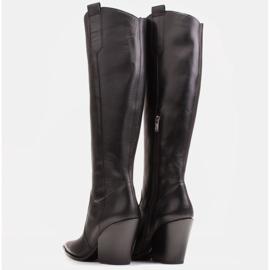 Marco Shoes Wysokie kozaki damskie kowbojki z naturalnej skóry czarne 5