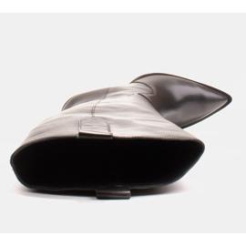 Marco Shoes Wysokie kozaki damskie kowbojki z naturalnej skóry czarne 7
