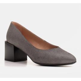 Marco Shoes Czólenka damskie z naturalnej, miękkiej skóry w srebrne paski czarne 1