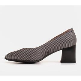 Marco Shoes Czólenka damskie z naturalnej, miękkiej skóry w srebrne paski czarne 2