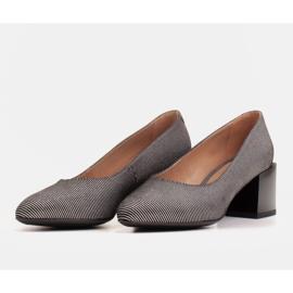 Marco Shoes Czólenka damskie z naturalnej, miękkiej skóry w srebrne paski czarne 3