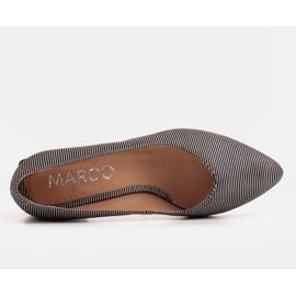 Marco Shoes Czólenka damskie z naturalnej, miękkiej skóry w srebrne paski czarne 4