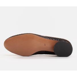 Marco Shoes Baleriny ze skóry wężowej z okrągłym obcasem czarne 6