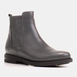 Marco Shoes Lekkie botki ocieplane na płaskim spodzie z naturalnej skóry szare 1