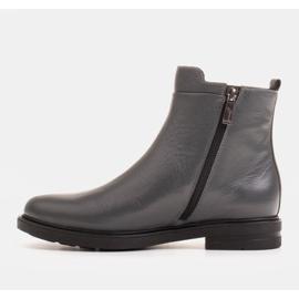 Marco Shoes Lekkie botki ocieplane na płaskim spodzie z naturalnej skóry szare 2