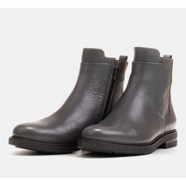 Marco Shoes Lekkie botki ocieplane na płaskim spodzie z naturalnej skóry szare 3