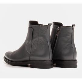 Marco Shoes Lekkie botki ocieplane na płaskim spodzie z naturalnej skóry szare 4