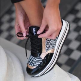 Marco Shoes Lekkie sneakersy na grubej podeszwie z naturalnej skóry czarne 1