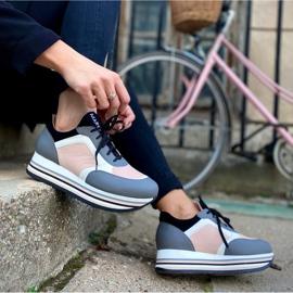 Marco Shoes Lekkie sneakersy na grubej podeszwie z naturalnej skóry szare 8