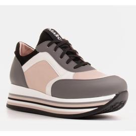 Marco Shoes Lekkie sneakersy na grubej podeszwie z naturalnej skóry szare 1