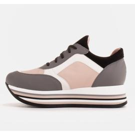 Marco Shoes Lekkie sneakersy na grubej podeszwie z naturalnej skóry szare 3