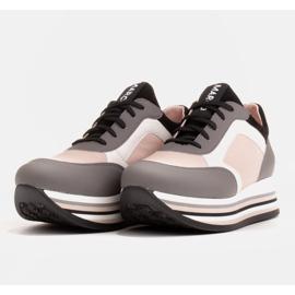 Marco Shoes Lekkie sneakersy na grubej podeszwie z naturalnej skóry szare 4