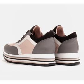 Marco Shoes Lekkie sneakersy na grubej podeszwie z naturalnej skóry szare 5