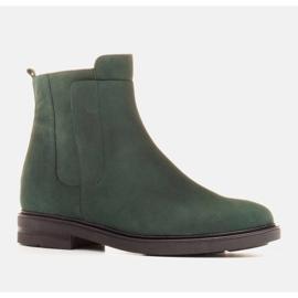 Marco Shoes Lekkie botki ocieplane na płaskim spodzie z naturalnej skóry zielone 1