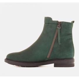 Marco Shoes Lekkie botki ocieplane na płaskim spodzie z naturalnej skóry zielone 2