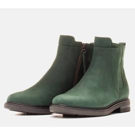 Marco Shoes Lekkie botki ocieplane na płaskim spodzie z naturalnej skóry zielone 3