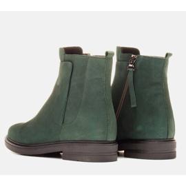 Marco Shoes Lekkie botki ocieplane na płaskim spodzie z naturalnej skóry zielone 4