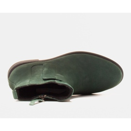 Marco Shoes Lekkie botki ocieplane na płaskim spodzie z naturalnej skóry zielone 5