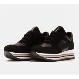 Marco Shoes Lekkie sneakersy na grubej podeszwie z naturalnej skóry czarne 3