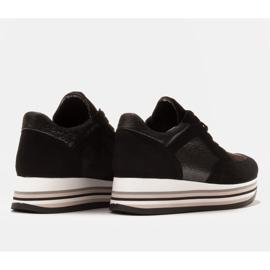 Marco Shoes Lekkie sneakersy na grubej podeszwie z naturalnej skóry czarne 6