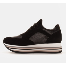 Marco Shoes Lekkie sneakersy na grubej podeszwie z naturalnej skóry czarne 4