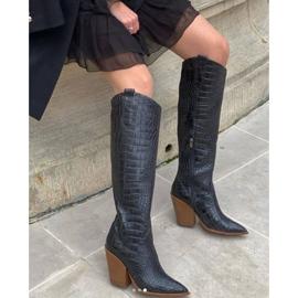 Marco Shoes Wysokie kozaki damskie kowbojki, motyw croco czarne 8