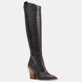 Marco Shoes Wysokie kozaki damskie kowbojki, motyw croco czarne 1