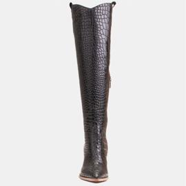 Marco Shoes Wysokie kozaki damskie kowbojki, motyw croco czarne 2