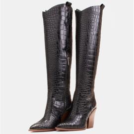 Marco Shoes Wysokie kozaki damskie kowbojki, motyw croco czarne 4