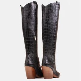 Marco Shoes Wysokie kozaki damskie kowbojki, motyw croco czarne 5